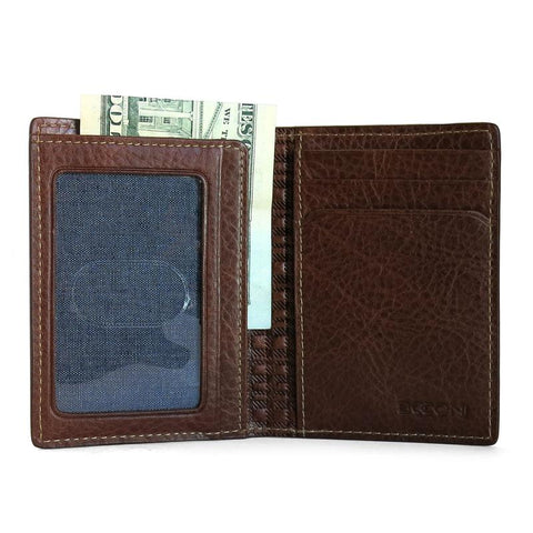 Boconi Caleb Cash Fold Card Case in Chestnut with Chambray