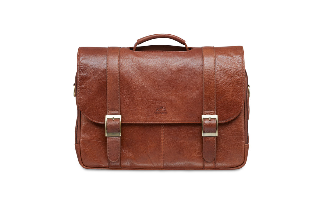 Mancini Arizona Double Compartment Flapover Briefcase for 15.6'' Laptop