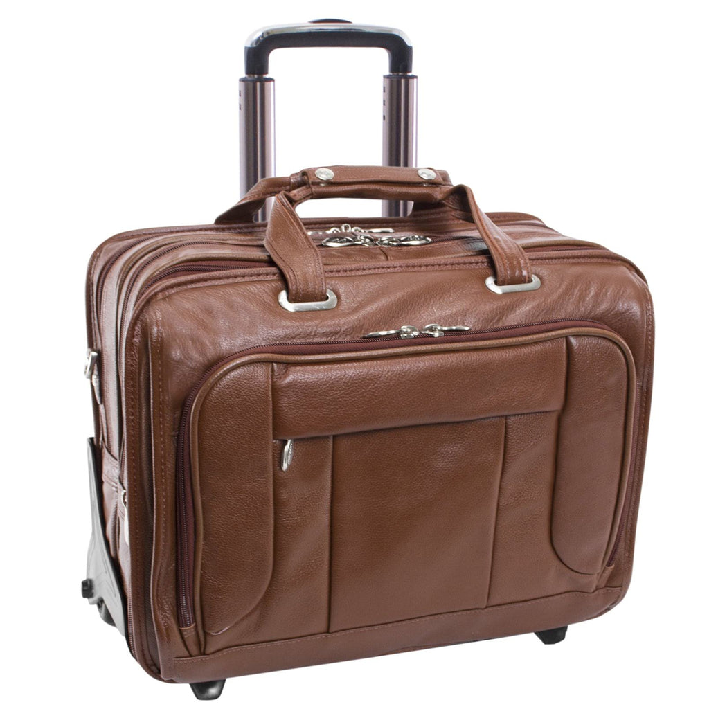 "McKlein USA West Town 15.6"" Leather Fly Through Checkpoint Friendly Detachable Wheeled Laptop Briefcase Assorted Colors"