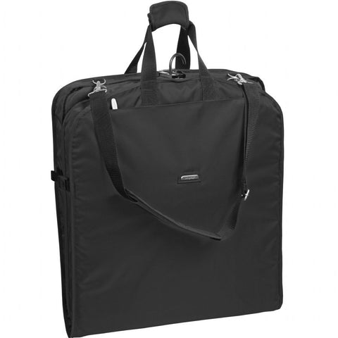 "WallyBags 45"" Extra Wide Shoulder Strap Garment Bag Black"