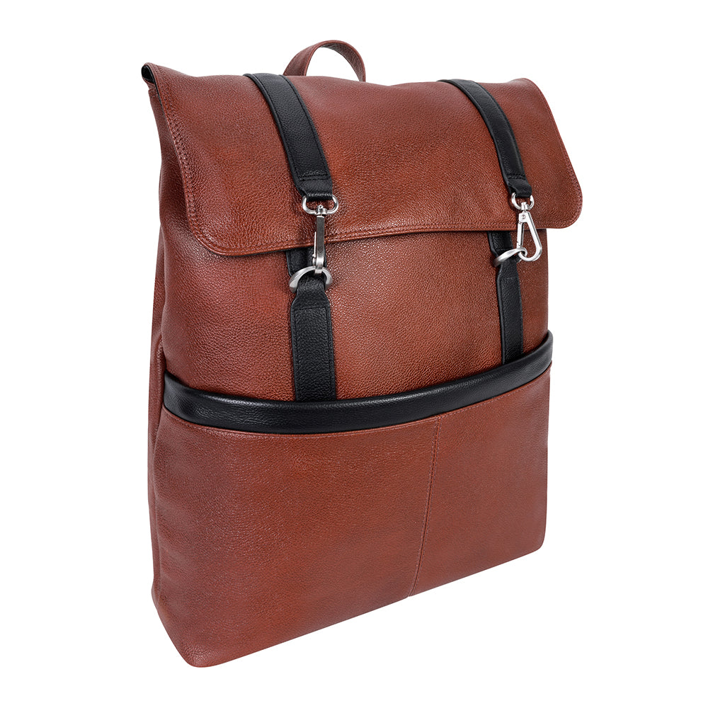 "McKlein 17"" Leather Two-Tone Flap-Over Laptop & Tablet Backpack"
