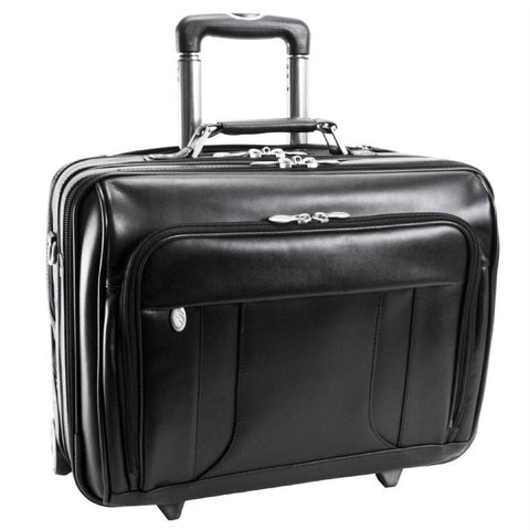 "McKlein USA Lasalle 15.6"" Leather Wheeled Laptop Overnight with Removable Briefcase Black"