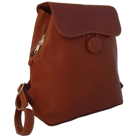 Piel Flap Over Button Backpack