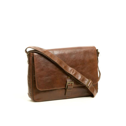 Boconi Becker Buckle Messenger in Whiskey with Gingham