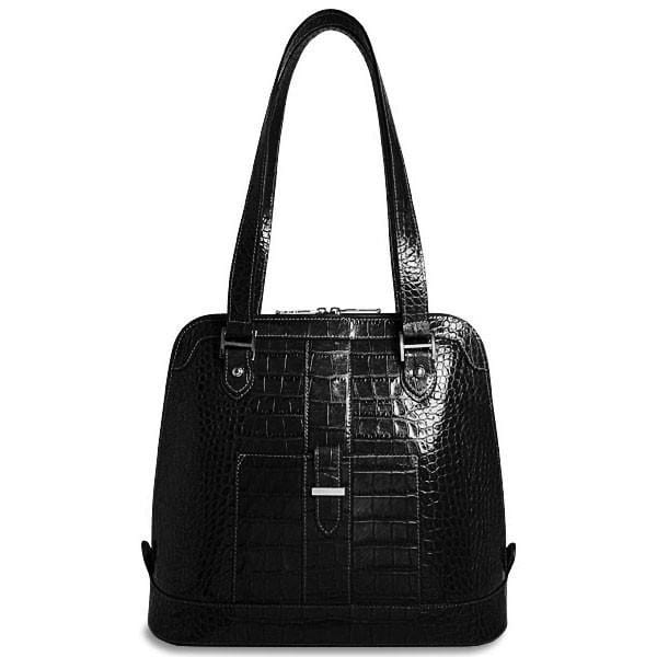 Jack Georges Croco Collection Paulina Dome Tote Black