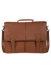 Scully Handstained Leather Satchel Brief Brown