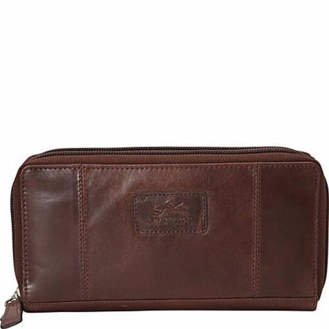 Mancini Casablanca Ladies Double Zipper Clutch Wallet Brown