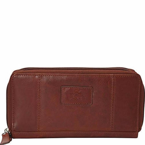Mancini Casablanca Ladies Double Zipper Clutch Wallet Cognac