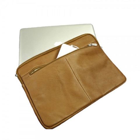 "Piel Leather 17"" Zip Laptop Sleeve"