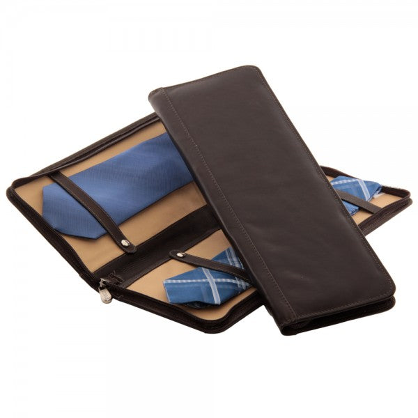 Piel Leather Zippered Tie Case with Snaps