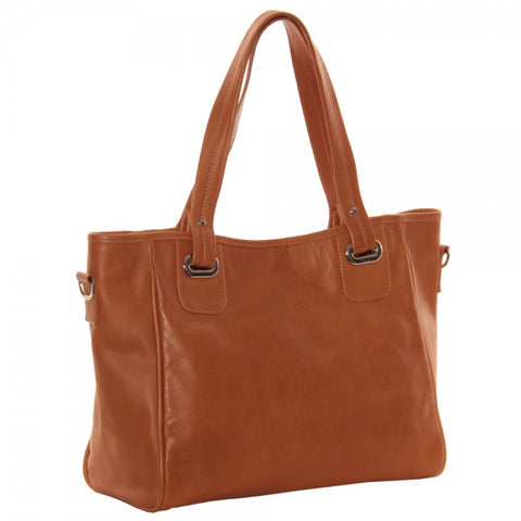 Piel Leather Open Tote/ Cross Body Bag