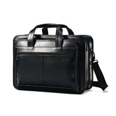 Samsonite Expandable Leather Business Case Black