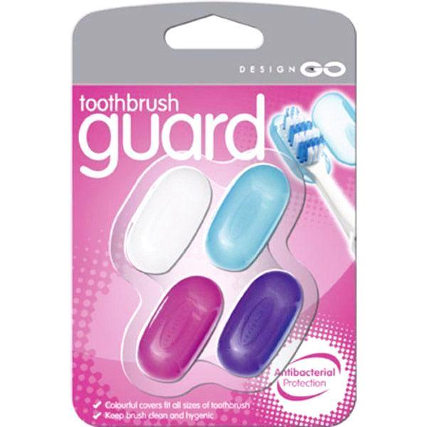 Go Travel Antibacterial Brush Shields Multi-Colored 4 Pk