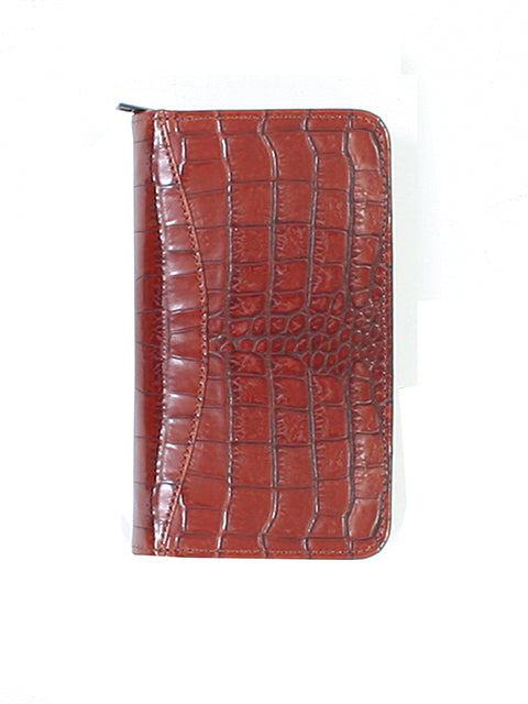 Scully Croco/Ostrich Leather zip pocket planner