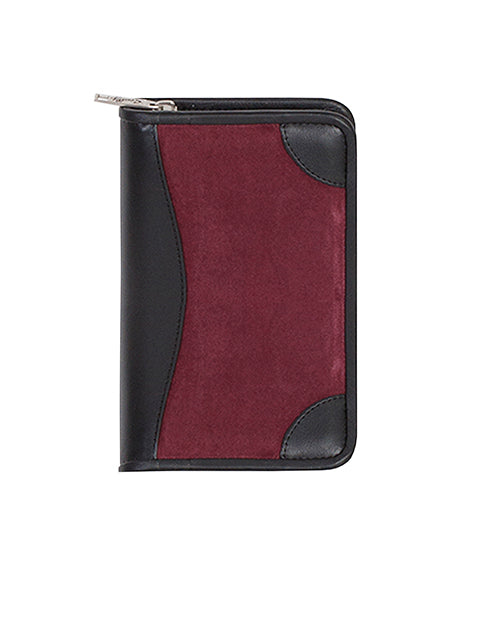 Scully Leather Suede Zip Pocket Planner Burgundy