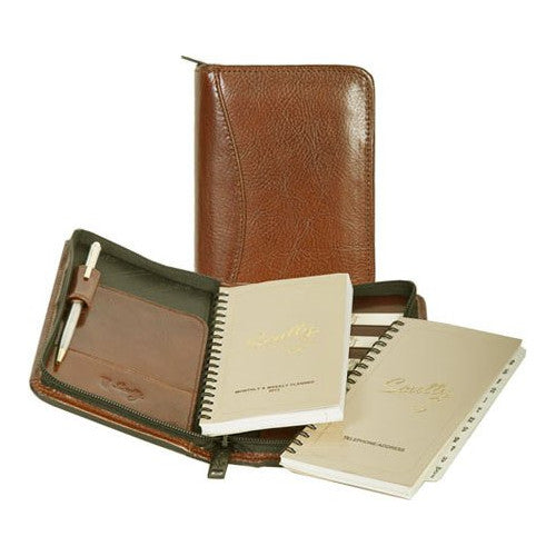 Scully Leather Zip Pocket Planner Tobacco