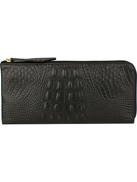 Scully Embossed Croco Leather Zip Wallet Black