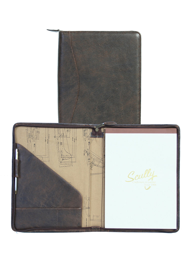 Scully Aerosquadron Collection Leather Zip Letter Pad Walnut