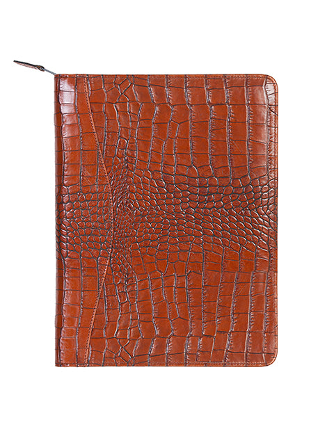 Scully Leather Zip Letter Pad Dark Brown
