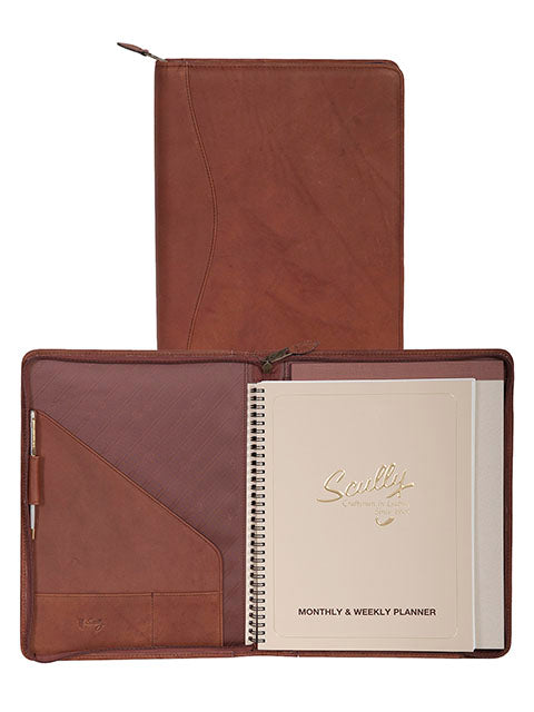 Scully Leather Canyon Zip Planner Brown