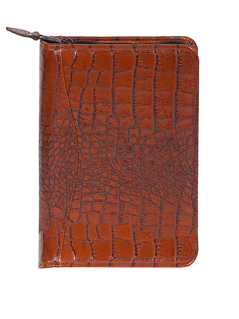 Scully Leather Zip Weekly Planner Dark Brown