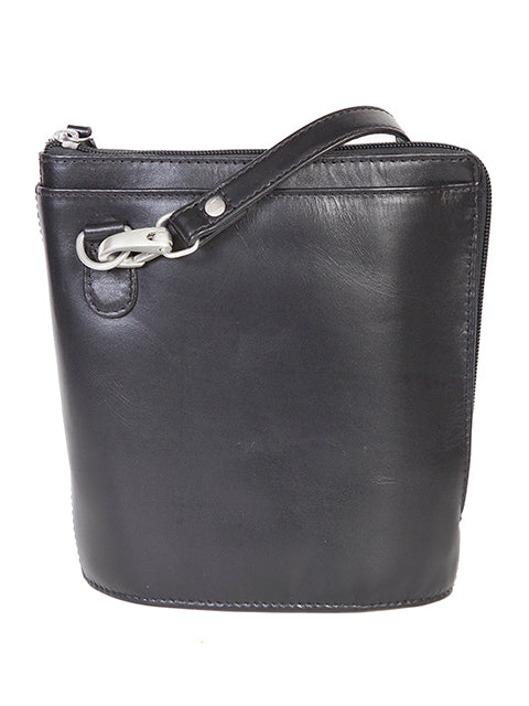 Scully Leather Handbag with Expandable Side Black