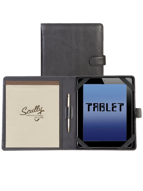 Scully Leather Tablet Cover & Padfolio Black