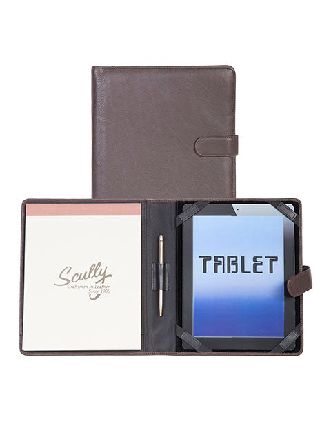 Scully Leather Tablet Cover & Padfolio Chocolate