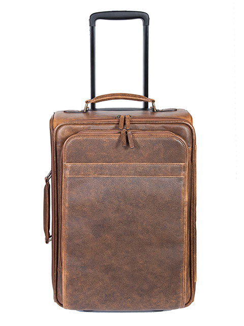 Scully Aerosquadron Collection Leather Wheeled Carry On Walnut