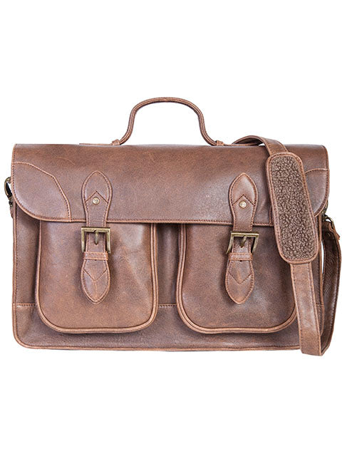 Scully Aerosquadron Leather Briefcase with Flap closure with quick release buckles