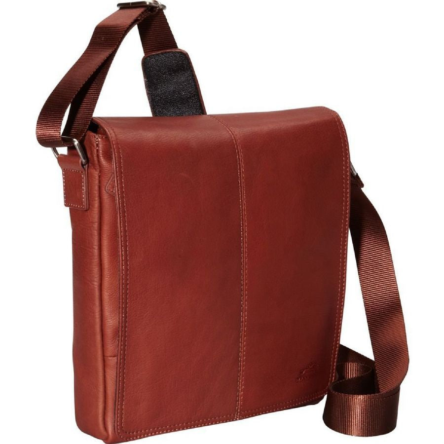 Mancini Leather Goods Messenger Style Unisex Tablet Bag Cognac