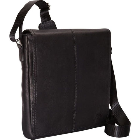 Mancini Leather Goods Messenger Style Unisex Tablet Bag Black
