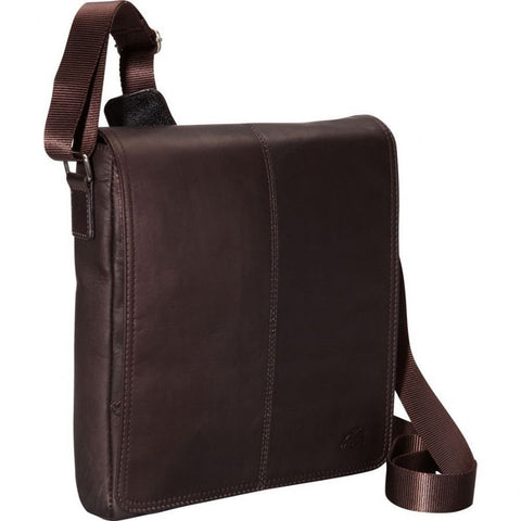Mancini Leather Goods Messenger Style Unisex Tablet Bag Brown