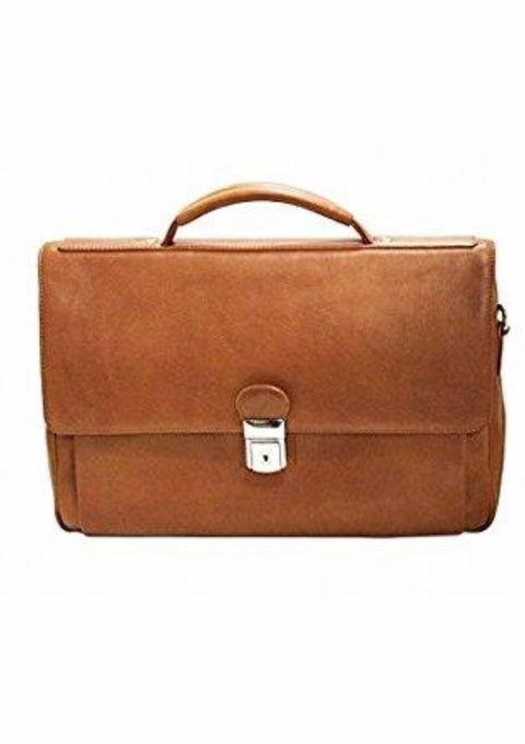 Mancini Colombian Collection Triple Compartment Briefcase Cognac