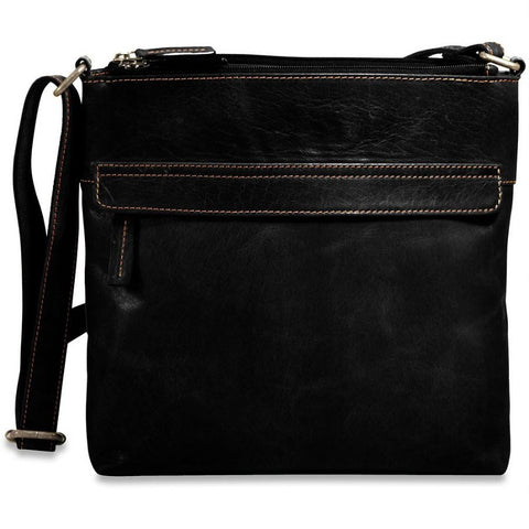 Jack Georges Voyager Zip Top Crossbody Hobo Black
