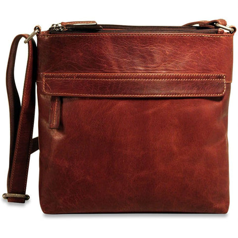 Jack Georges Voyager Zip Top Crossbody Hobo Brown