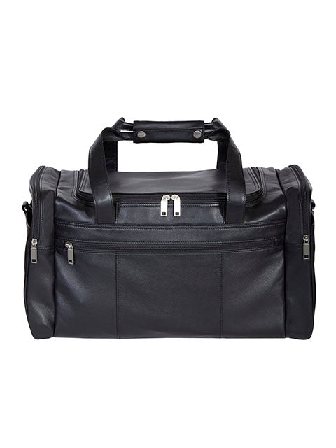 Scully Leather Soft Plonge Top Zip Duffel Bag Black