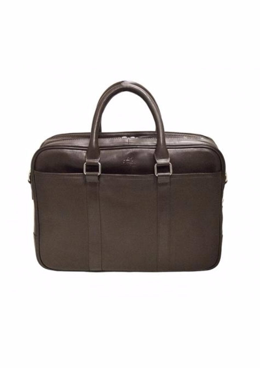 Mancini Colombian Collection Double Zippered Compartments RFID Secure Briefcase Brown