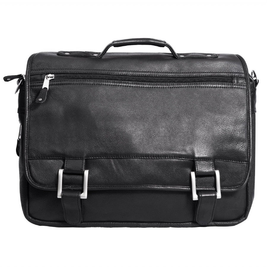 "Canyon Outback Copper Canyon 15"" Leather Expandable Briefcase Black"