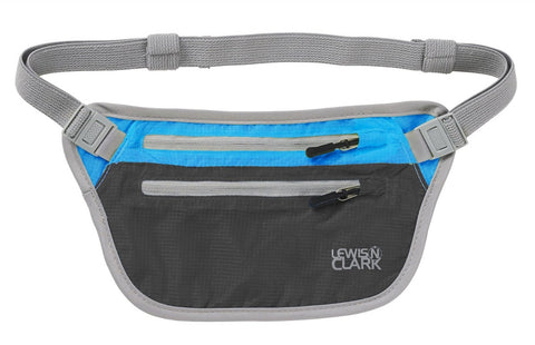 Lewis N Clark Electrolight Waist Stash Charcoal Bright Blue