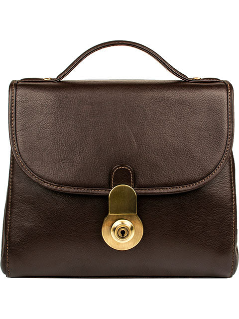 Scully Handstained Leather Handbag Chocolate