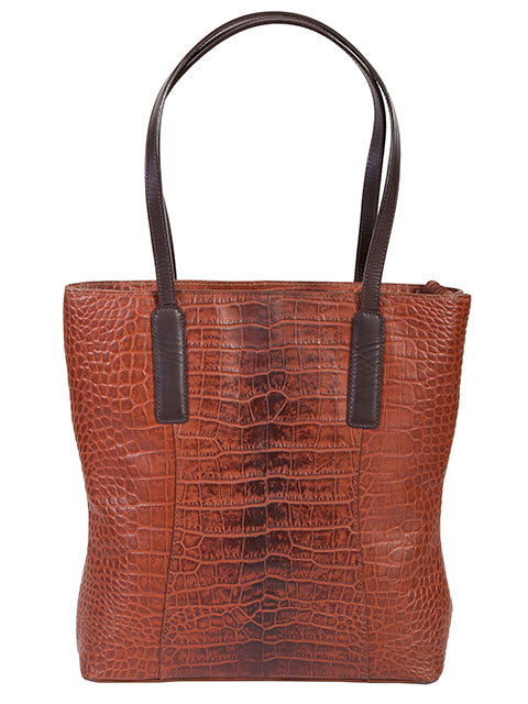 Scully Leather Croco Print Handbag Brown