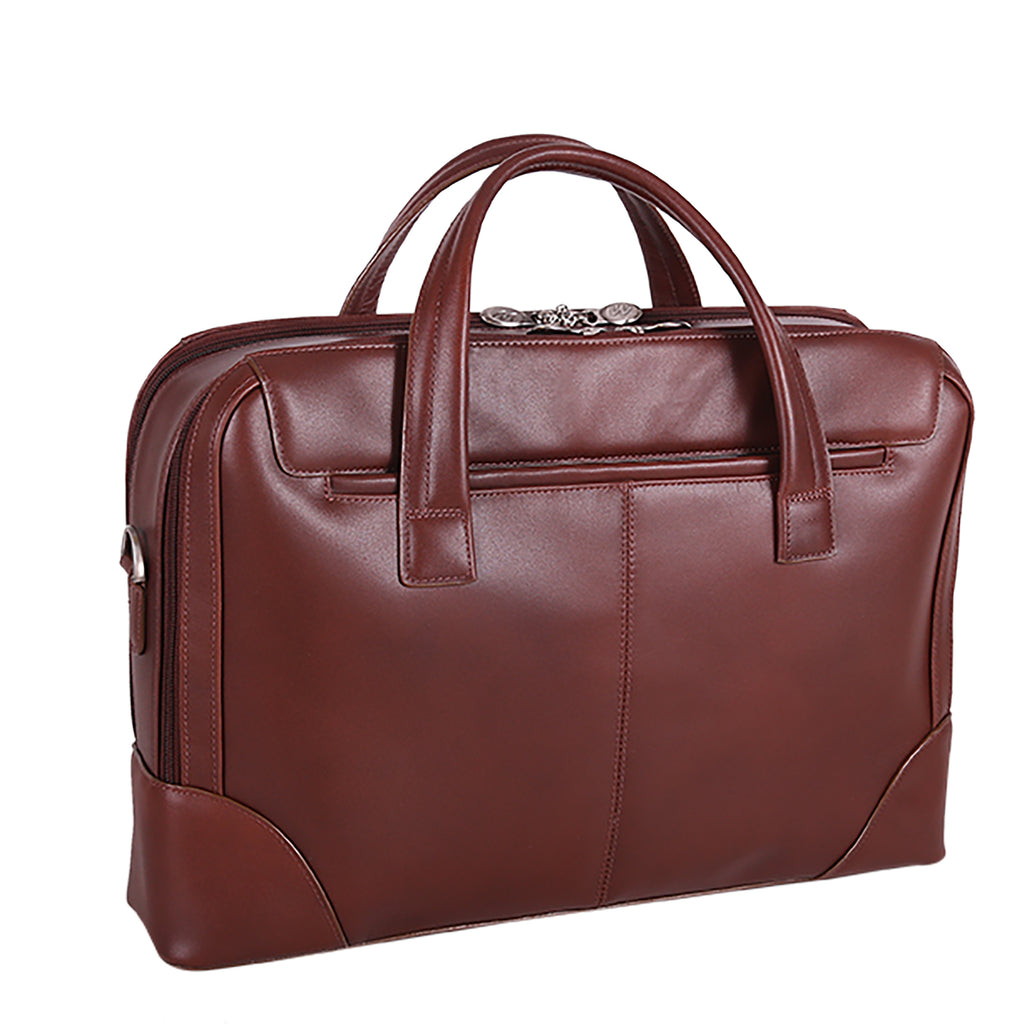 "McKlein USA Harpswell 17"" Leather Dual Compartment Laptop Briefcase Assorted Colors"
