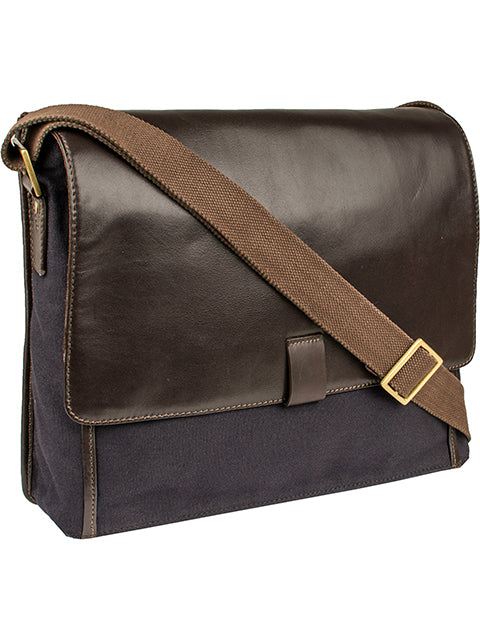 Scully Leather Berkeley Canvas Workbag Chocolate