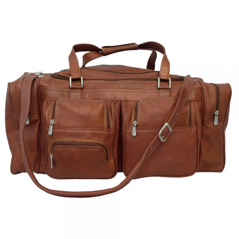 "Piel Leather 24"" Duffel Bag with Pockets"