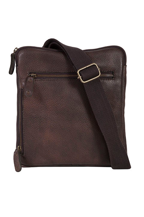 Scully Leather Goat Washed Shoulder Tote Chocolate