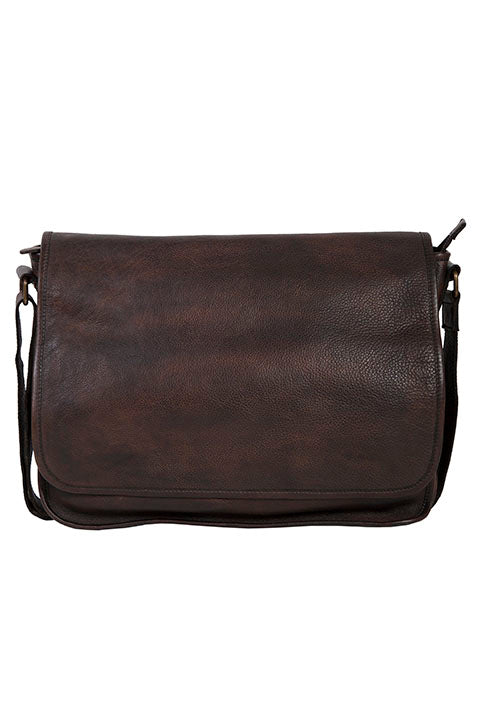 Scully Leather Goat Washed Messenger Brief Chocolate