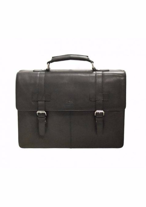 Mancini Colombian Collection Double Compartment Briefcase Black