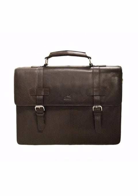 Mancini Colombian Collection Double Compartment Briefcase Brown