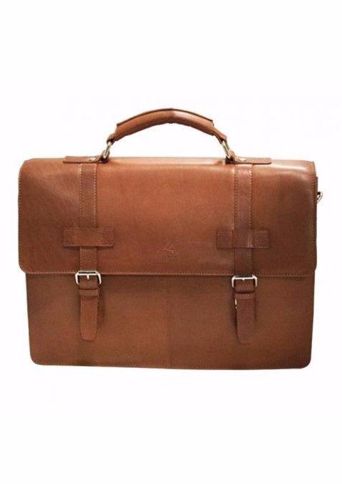 Mancini Colombian Collection Double Compartment Briefcase Cognac